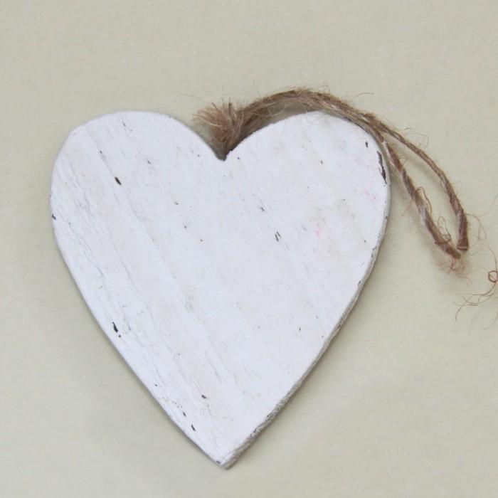 Cuore Legno 15cm - Bianco