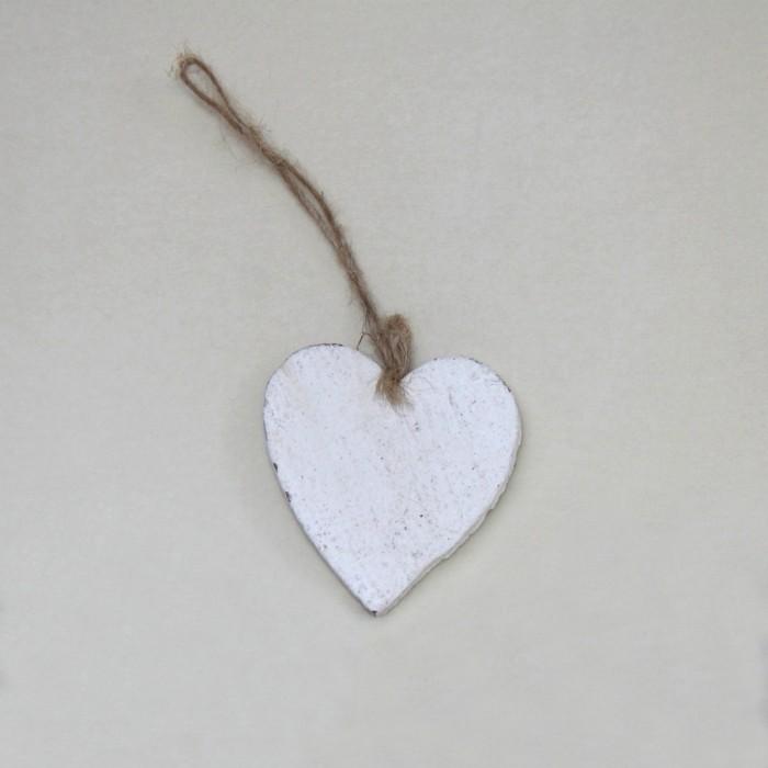 Cuore Legno 8cm - Bianco